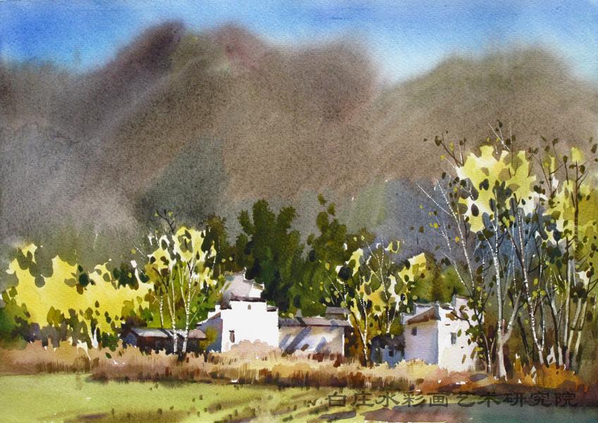 屏山房子风景画水粉