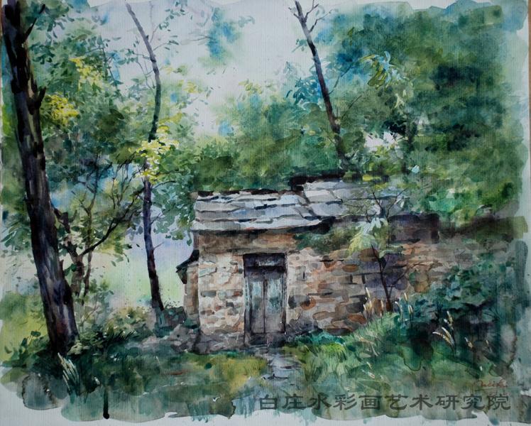 石头房子(水彩) - 画家村