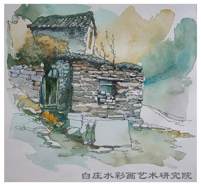 石屋(钢笔淡彩) - 画家村